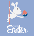 greeting card with easter bunny holding egg vector image