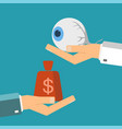 hand patient with money and a human eye in vector image
