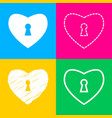 heart woth lock sign four styles of icon on four vector image vector image