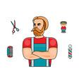 hipster man barber shop symbols set vector image vector image