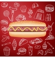 Hot dog and hand draw fast food icon vector image