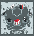 library color concept isometric icons vector image vector image