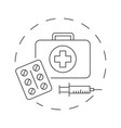 medical first aid kit with pills outline vector image