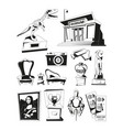 monochrome pictures for museum exhibition vector image vector image