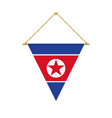 north korean triangle flag hanging vector image