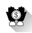 open palms with dollar coin in hand silhouette vector image