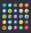 pack of network communications flat icons vector image