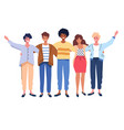 people group portrait friends waving couples vector image vector image