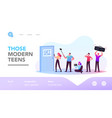 people with gadgets landing page template male vector image vector image