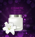 poster of refreshing cosmetic product with flower vector image vector image