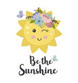 poster with cute floral sun vector image vector image