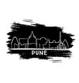 pune india city skyline silhouette hand drawn vector image vector image