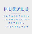 puzzle paper cut out font in blue colors vector image vector image