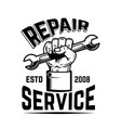 repair service human hand with wrench design vector image