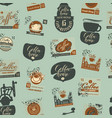 seamless pattern on coffee theme with postmarks vector image vector image