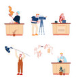 set cooking characters isolated people prepare vector image