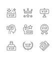 set line icons vip vector image