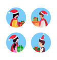 set man woman wearing hat holding gift box happy vector image vector image