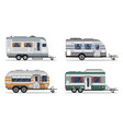 side view camping trailers isolated on white vector image vector image