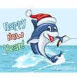Smiling dolphin in Santa Claus cap vector image vector image