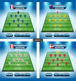 soccer team player plan group c with flags vector image vector image