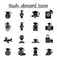 study abroad graduation icon set vector image