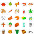 summer adventure icons set cartoon style vector image vector image