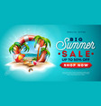 Summer sale design with lifebelt and exotic palm