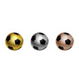 three soccer football ball in gold silver and vector image
