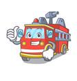 thumbs up fire truck character cartoon vector image vector image