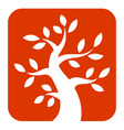 White Bold Tree icon on orange background vector image vector image