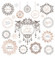 winter wreath christmas vintage typographic new vector image