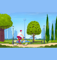 young man rides a bicycle in a park vector image vector image
