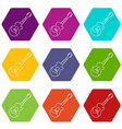 acoustic guitar icons set 9 vector image vector image