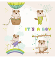 baby dog set - for shower card vector image vector image