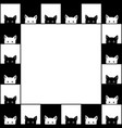 black white cat chess board border background vector image