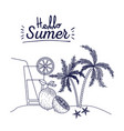 blue silhouette poster of hello summer with vector image