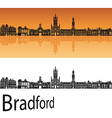 Bradford skyline in orange background vector image vector image