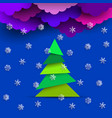 bright paper clouds with paper white snowflakes vector image