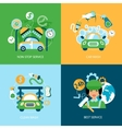 Car wash flat icons vector image