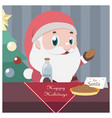christmas scene with santa taking milk and cookies vector image