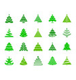 christmas tree color silhouette icons set vector image vector image