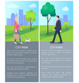 city park posters with businessman and cute lady vector image vector image