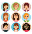 collection of avatars of various young women vector image vector image