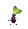 cute eggplant character cartoon mascot vegetable vector image
