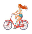 cute woman riding vintage bicycle vector image vector image
