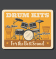 drums percussion instruments rock music vector image