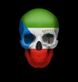 equatorial guinean flag skull vector image vector image