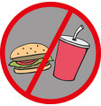 fast food danger label no food vector image vector image