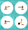 flat icon hammer set of hammer law defense and vector image vector image